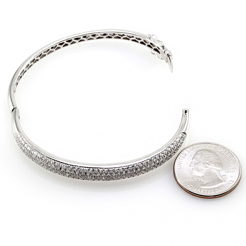 ODELIA Diamond Pave Bangle Bracelet in 18K White Gold