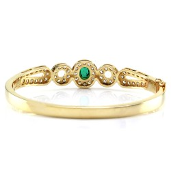 Emerald & Pave Diamond Halo Hinged Bangle Bracelet in 14K Yellow Gold