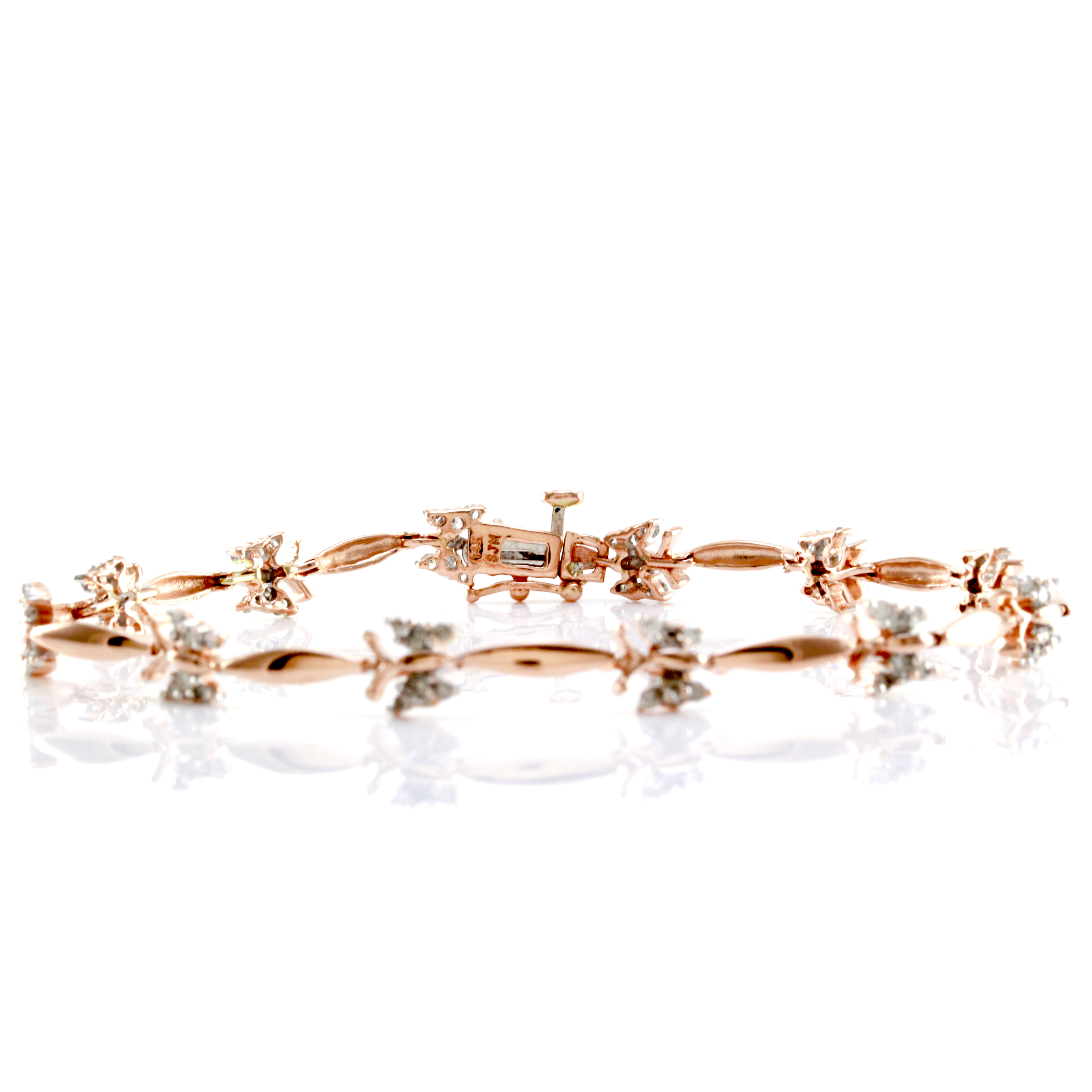 Diamond Butterfly & Marquise Shaped Link Bracelet in 14K Rose Gold