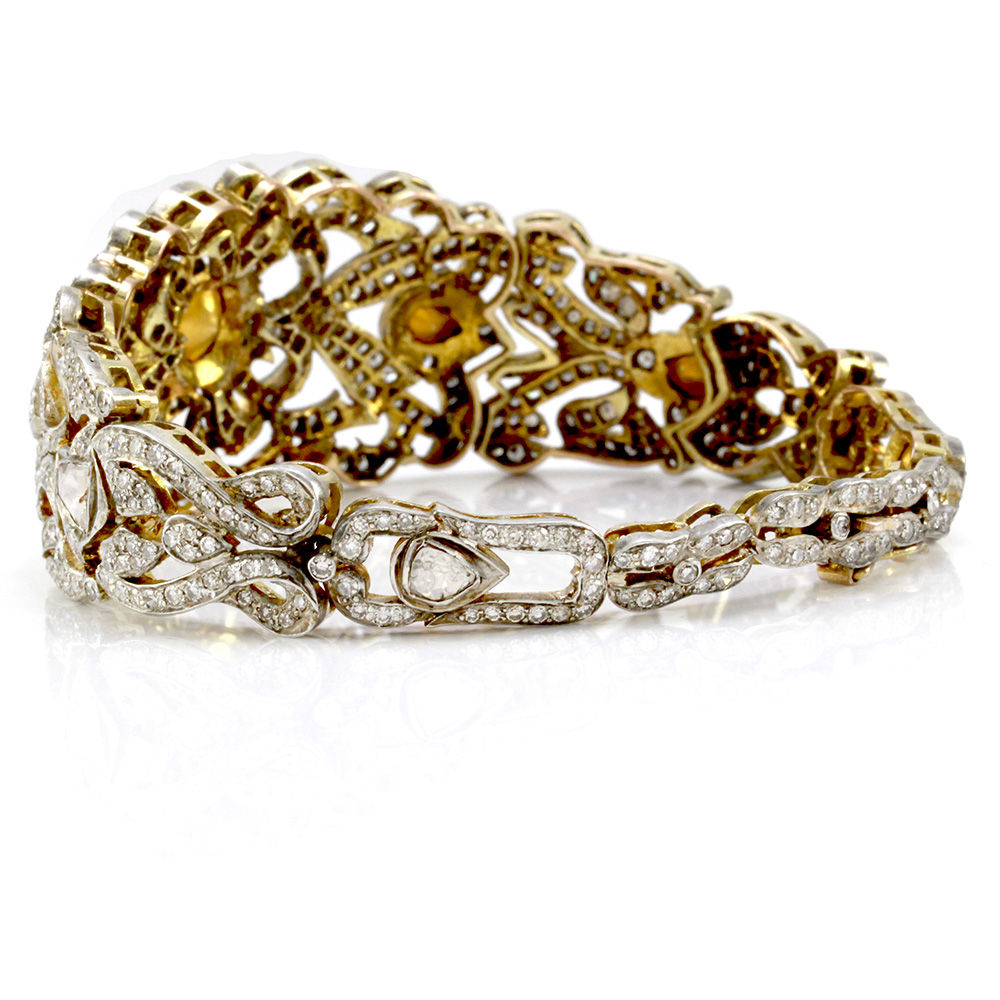 Edwardian Rose & Single Cut Diamond Bracelet in 14K Yellow Gold & Silver
