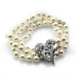 Three Strand Pearl Bracelet with Fancy Diamond Clasp in 14K White Gold