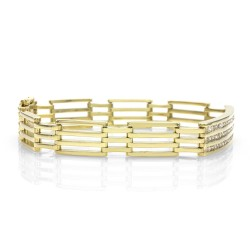 Diamond Station Gold Link Bracelet