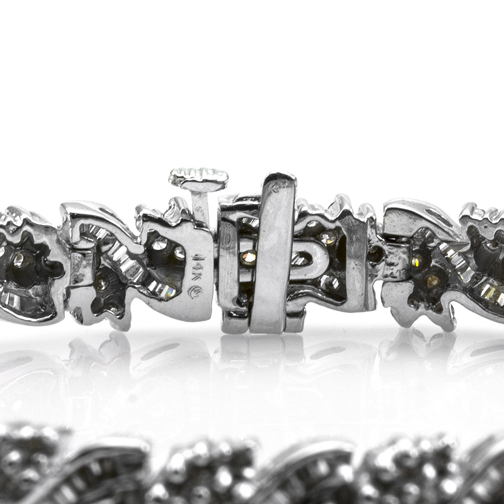 Mixed Cut Diamond Cluster Bracelet in 14K White Gold