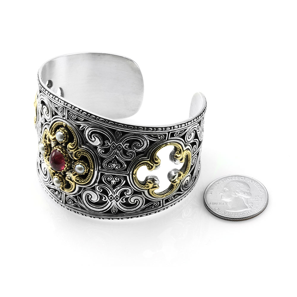 Konstantino Erato Pink Tourmaline and Pearl Cuff Bracelet in Sterling and Gold