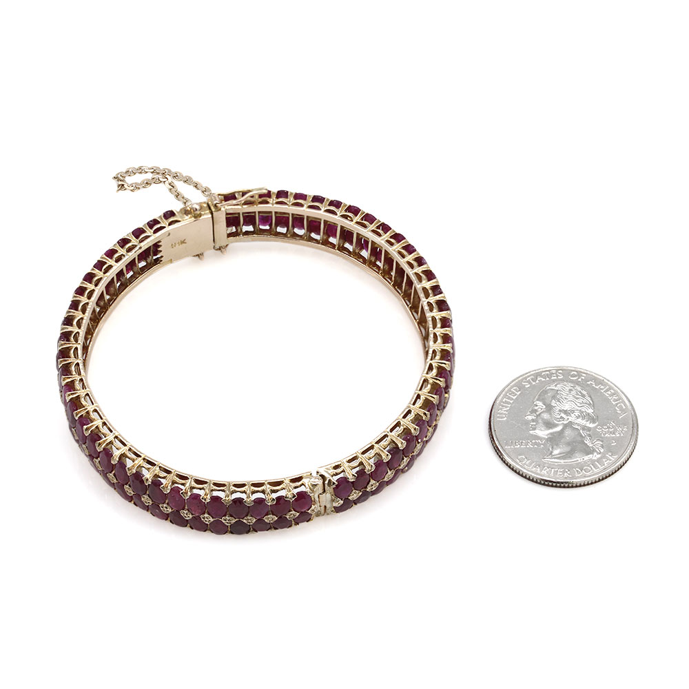 Two Row Ruby Bangle Bracelet in Gold