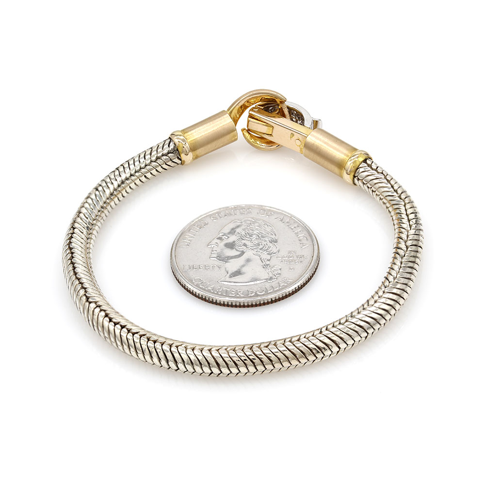 Silver Bracelet with Pave Diamond and Gold Clasp