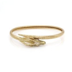 French Gold Gazelle's Head Bracelet with Rubies and Diamonds