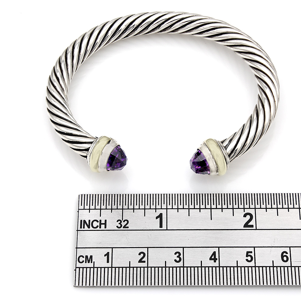 David Yurman Cable Classics Cuff with Amethyst Ends