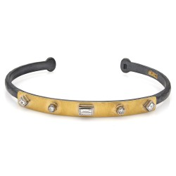Lika Behar ID Style Cuff Bracelet with Diamond Accent in 24k Gold and Oxidized Silver