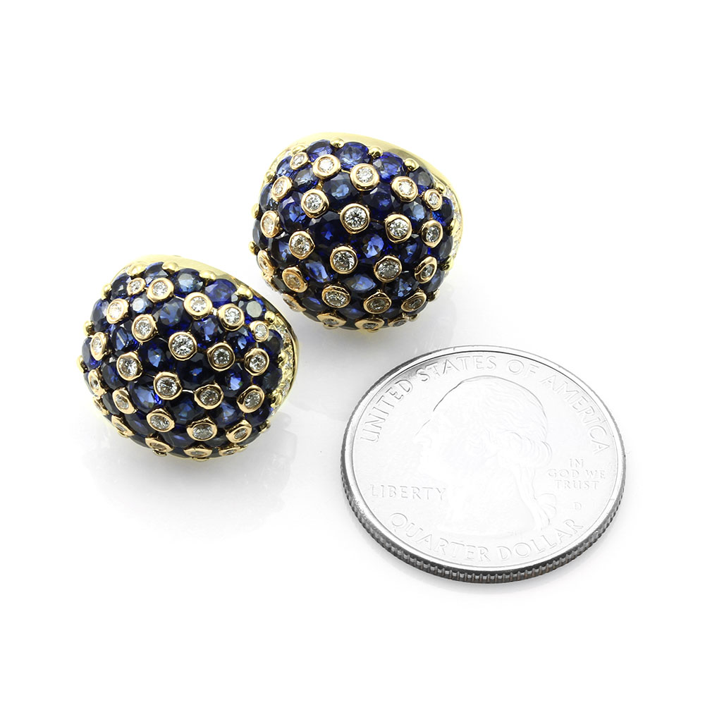 Sapphire and Diamond Dome Earrings in Gold