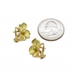 Diamond Flower Earrings in Gold