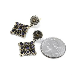 Konstantino Tanzanite Drop Earrings in Silver and Gold