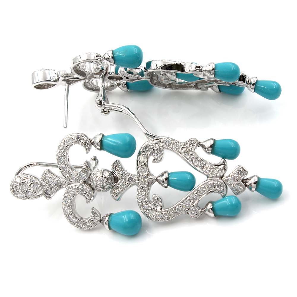 Diamond and Turquoise Earrings in Gold