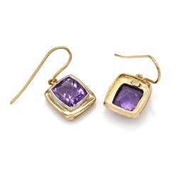 Amethyst Drop Earrings in Gold