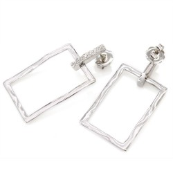 Rectangular Diamond Earrings in Gold