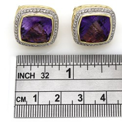 Yurman Amethyst & Diamond Earrings in Gold