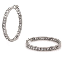 Diamond Hoop Earrings in Gold