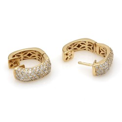 Sonia B Diamond Pave Square Huggie Earrings