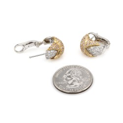 Pave Diamond X Earrings in Gold