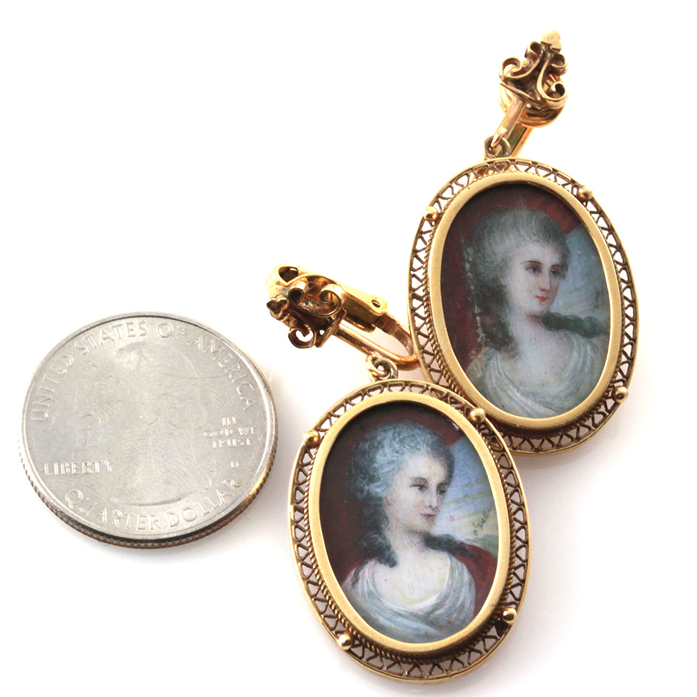 Antique Hand Painted Micro Portrait Clip-On Earrings in 10K Yellow Gold