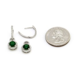 Pave Diamond Hoops and Tsavorite Diamond Halo Charms in Gold