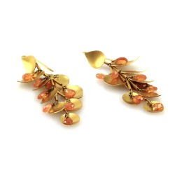 Briolette Golden Beryl Drop Earrings with Satin Finished Leaf Motif in 18K Yellow Gold