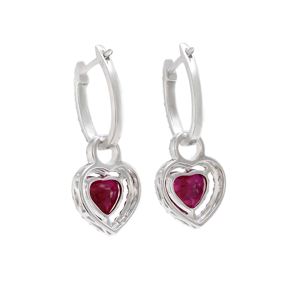 Pave Diamond Hoops with Ruby Heart Diamond Halo Charms in Gold