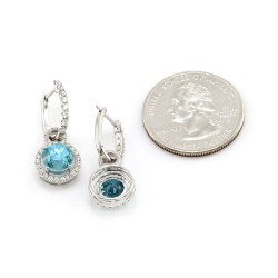 Pave Diamond Hoops with Blue Zircon Diamond Halo Charms in Gold