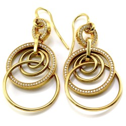 Norman Covan Diamond Triple Circle Earrings in Gold