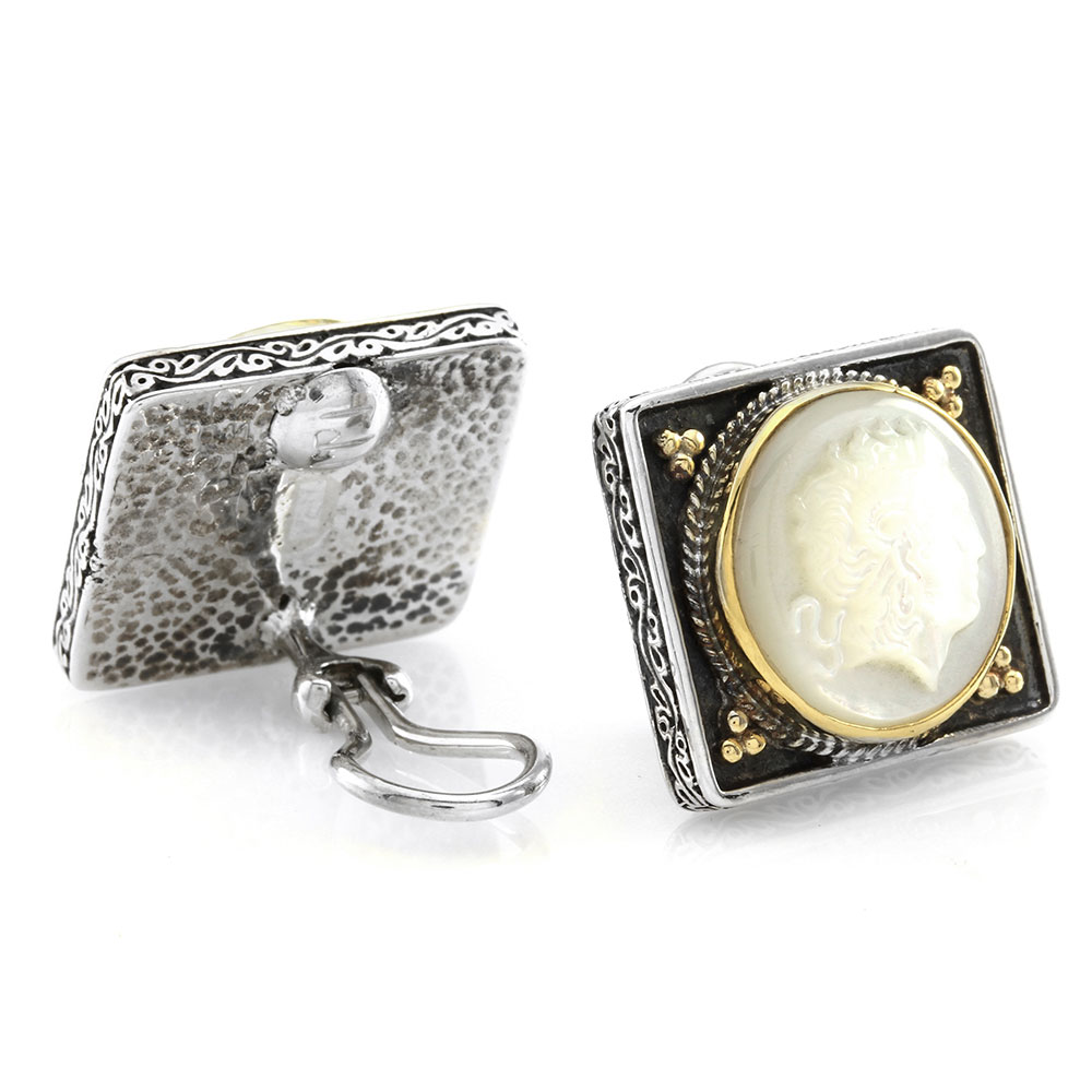 Konstantino Mother-of-Pearl Alexander the Great Cameo Earrings in Sterling and Gold