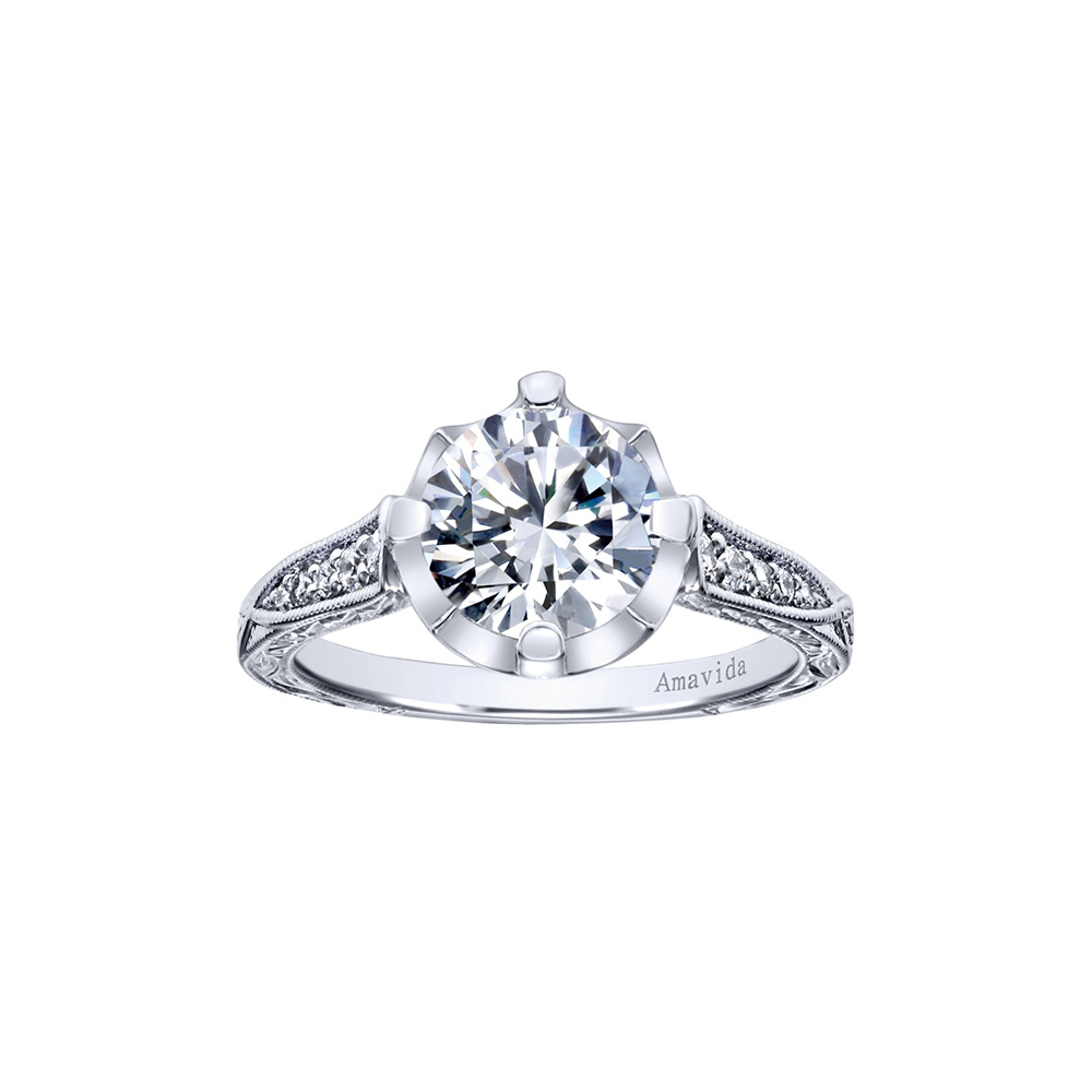 Gabriel & Co. Amavida Diamond Ring Mounting w/ Etched DCetails in 18K White Gold