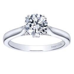 Gabriel & Co. Amavida Solitaire Ring Mounting w/ Pave Diamond Accents in 18K White Gold