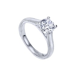 Gabriel & Co. Solitaire Ring Mountting w/ Milgrain Details in 14K White Gold