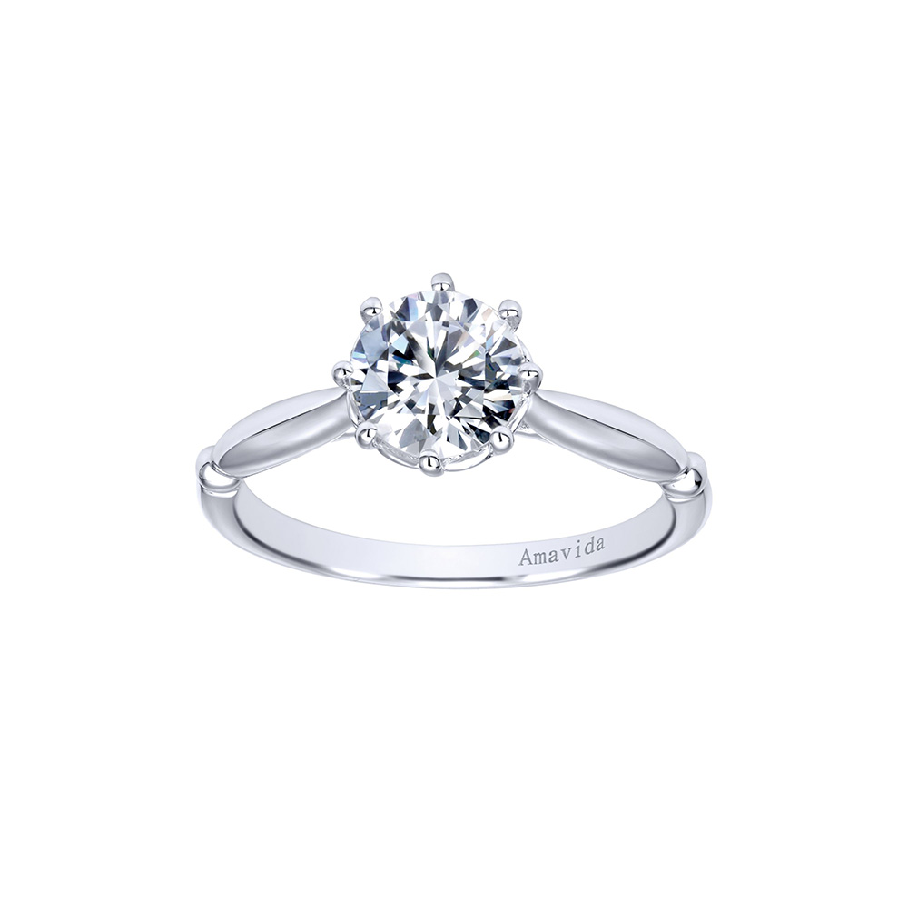 Gabriel & Co. Amavida Solitaire Ring Mounting in 18K White Gold