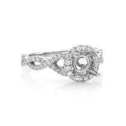 Gabriel & Co. Diamond Halo Open Twist Ring Mounting in 14K White Gold