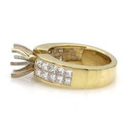 Invisible Set Diamond Mounting in Gold