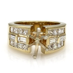 Three Row Channel Set Princess and Baguette Diamond Mounting in 14k Yellow Gold