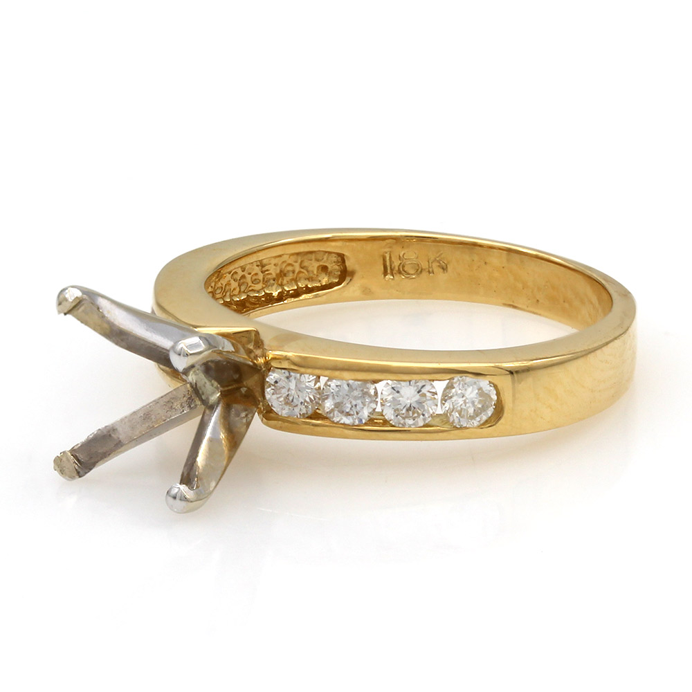 Channel Set Round Diamond Mounting in 18k Yellow Gold