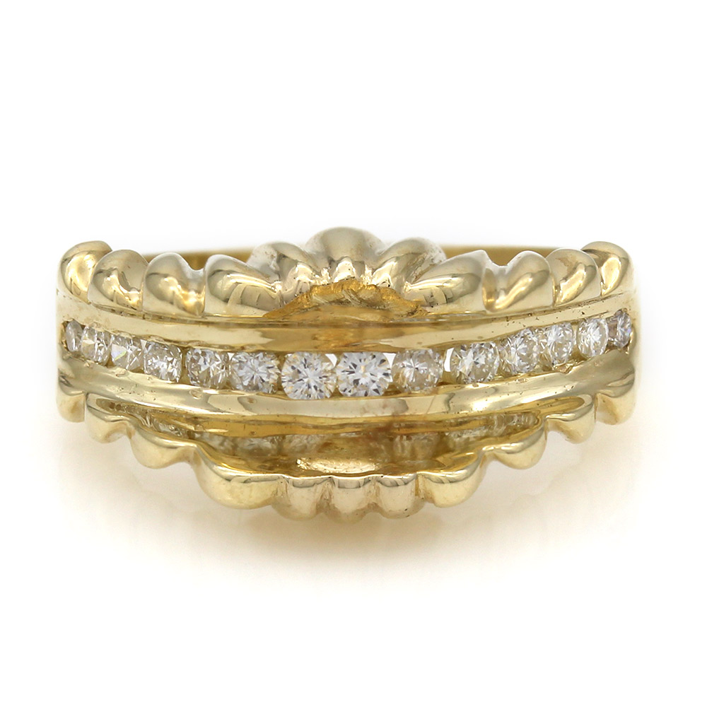 Fashion Scalloped Round Diamond Channel Set Mounting in 14k Yellow Gold