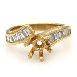 Channel Set, Bypass Style, Baguette Diamond Mounting in 18k Yellow Gold