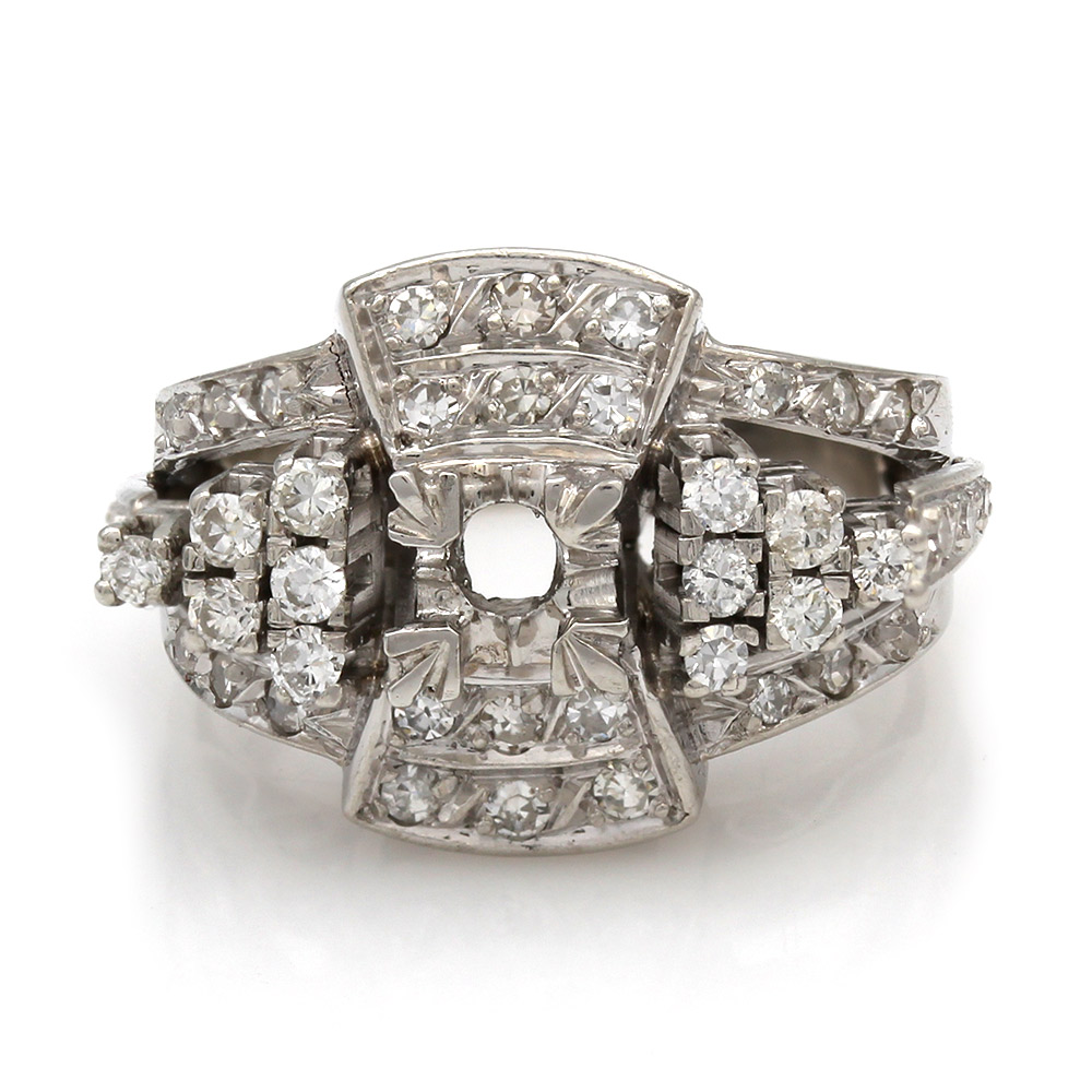 Vintage Style, Single Cut and Round Diamond Mounting in Platinum