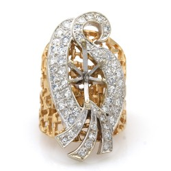Single Cut Diamond Swan Mounting in Two-Tone 14k White and Yellow Gold