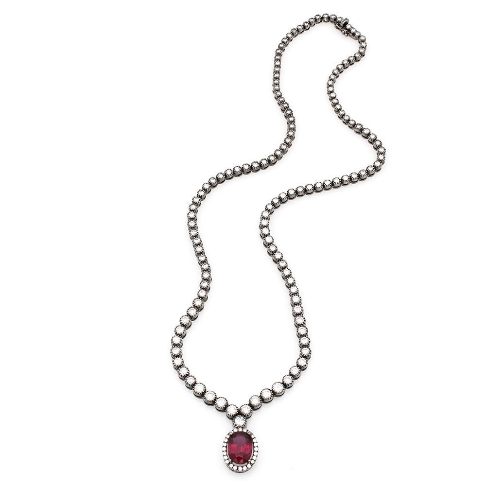 Diamond Inline Necklace with Diamond Halo and Rubellite Oval in 18k White Gold