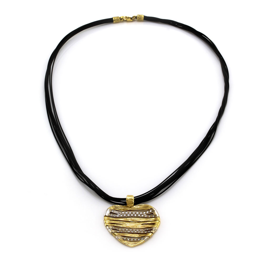 Roberto Coin Elephantino Pave Diamond Heart Necklace in Gold