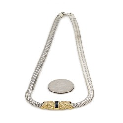 Tiffany & Co. Blue Sapphire Station Necklace in Silver and Gold