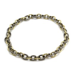 David Yurman Large Oval Link Necklace in Silver and Gold