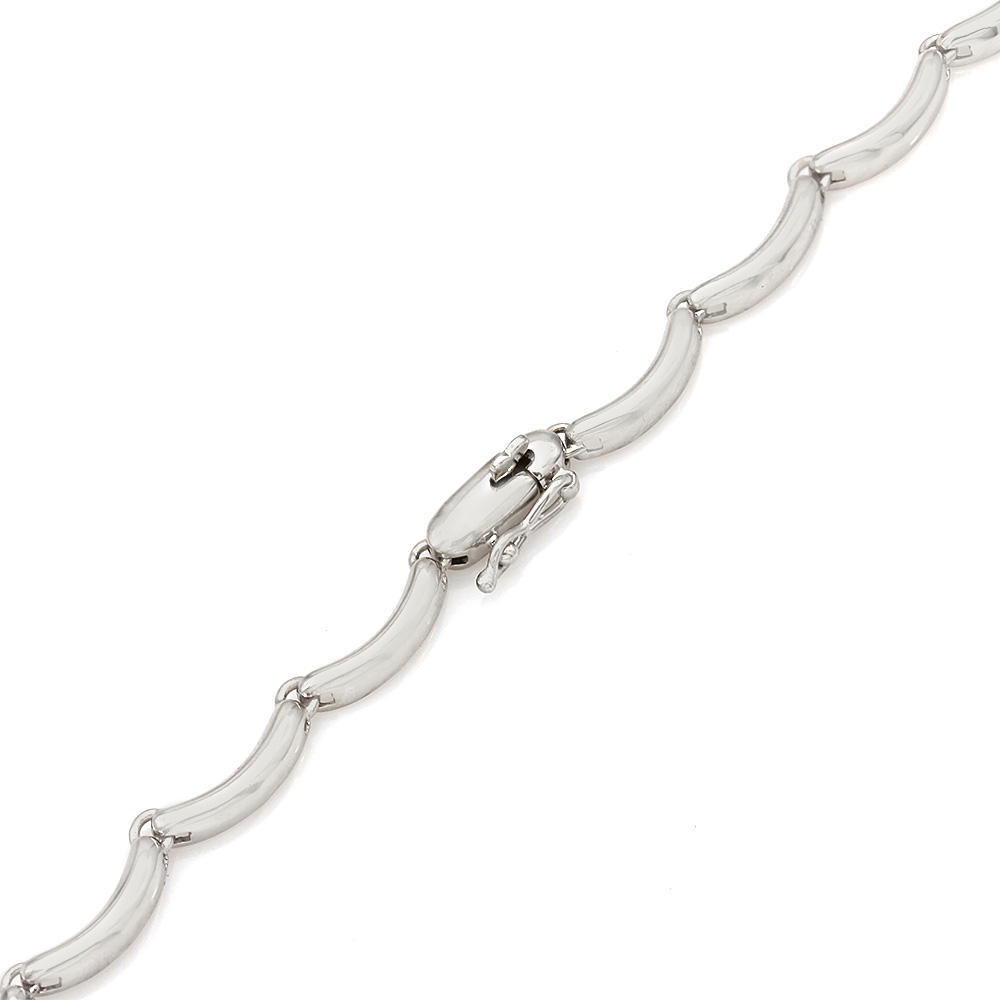 Scalloped Link Necklace with Round Diamonds and Round Diamond Drop in 14k White Gold