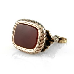 Antique Un-carved Carnelian Fob Seal in Gold