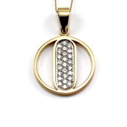 Contemporary Pave' Diamond  Open Circle Pendant in 14K & 18K Gold