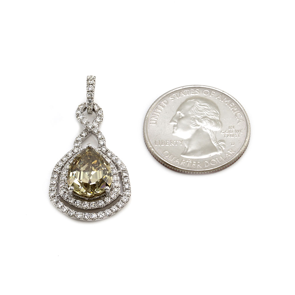 Fancy Diamond and Pave Diamond Pendant in Gold
